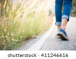 walking women jeans and sneaker ... | Shutterstock . vector #411246616