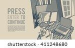 room interior. workspace.... | Shutterstock .eps vector #411248680