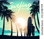 surfing at sunrise with a long... | Shutterstock .eps vector #411248749