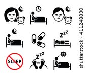 insomnia  people having trouble ... | Shutterstock .eps vector #411248830