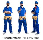 plumber with thumb up | Shutterstock . vector #411249700