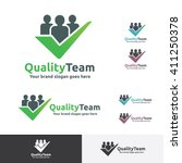 quality team logo with check... | Shutterstock .eps vector #411250378