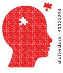 missing piece puzzle head vector | Shutterstock .eps vector #41125243