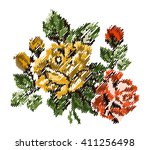 color bouquet of flowers  roses ... | Shutterstock . vector #411256498
