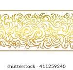 gold horizontal seamless border....   Shutterstock .eps vector #411259240