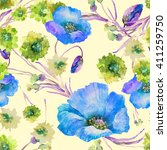 beautiful floral seamless... | Shutterstock . vector #411259750