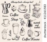 hand drawn set coffee vector... | Shutterstock .eps vector #411261583