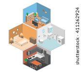 set of isometric interior rooms ... | Shutterstock .eps vector #411262924