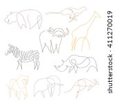 One Line Safari Animals Set...