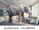big elephant and the baby  in... | Shutterstock . vector #411280444
