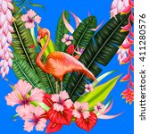 exotic tropical background with ... | Shutterstock .eps vector #411280576