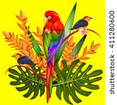 exotic tropical background with ... | Shutterstock .eps vector #411280600