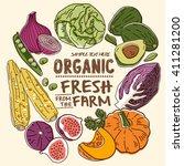 fresh organic farm... | Shutterstock .eps vector #411281200