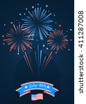 fireworks and stars in national ... | Shutterstock .eps vector #411287008