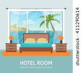 hotel room with beach and sea... | Shutterstock .eps vector #411290614