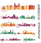 skyline detailed silhouette set ... | Shutterstock .eps vector #411290809