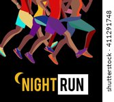 Night Run Vector Flat Banner....