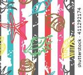seashells. striped background.... | Shutterstock .eps vector #411292174