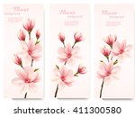 Stock vector three nature flower magnolia banners vector 411300580