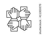 team work icon in thin line... | Shutterstock . vector #411303370