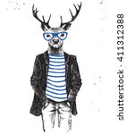 hand drawn dressed up hipster... | Shutterstock .eps vector #411312388