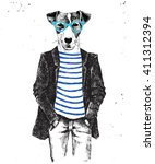 hand drawn dressed up hipster... | Shutterstock .eps vector #411312394