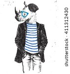 hand drawn dressed up hipster... | Shutterstock .eps vector #411312430