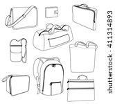 vector bags. black outline on... | Shutterstock .eps vector #411314893