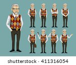 grandfather in business clothes | Shutterstock .eps vector #411316054