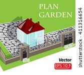 modern isometric 3d cottage... | Shutterstock .eps vector #411316654