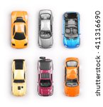 many multi colored toy cars on... | Shutterstock . vector #411316690