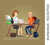 woman teacher tutor tutoring... | Shutterstock .eps vector #411317410