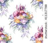 seamless pattern. watercolor... | Shutterstock . vector #411317788