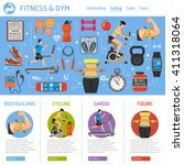 fitness  gym  cardio  healthy... | Shutterstock .eps vector #411318064