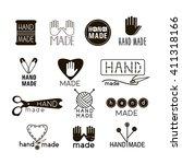 handmade black and  thin line... | Shutterstock .eps vector #411318166