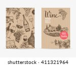 vector hand drawn wine... | Shutterstock .eps vector #411321964