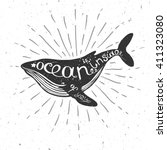 vector illustration with whale  ... | Shutterstock .eps vector #411323080