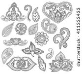 coloring pages for adults. set... | Shutterstock .eps vector #411333433