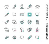 set of dental care web icons.... | Shutterstock .eps vector #411333610