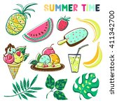 summer elements set. vector... | Shutterstock .eps vector #411342700