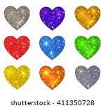 set of colorful glittering...