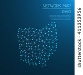 ohio network map. abstract... | Shutterstock .eps vector #411353956