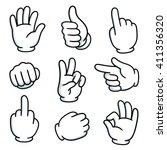 cartoon hands gesture set.... | Shutterstock .eps vector #411356320