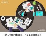 vector workplace businessman... | Shutterstock .eps vector #411358684