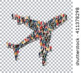 aircraft people sign 3d | Shutterstock .eps vector #411378298