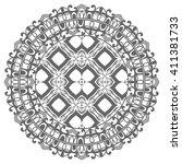 monochrome mandala geometric... | Shutterstock .eps vector #411381733
