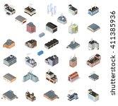 array of industrial buildings...   Shutterstock .eps vector #411385936