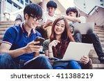 group of happy teen high school ... | Shutterstock . vector #411388219