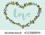 flower frame wreath. vector... | Shutterstock .eps vector #411388894