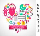 newborn baby girl icons set....   Shutterstock . vector #411394339